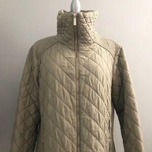 MICHAEL KORS Womens Diamond Quilted Zip Up Jacket